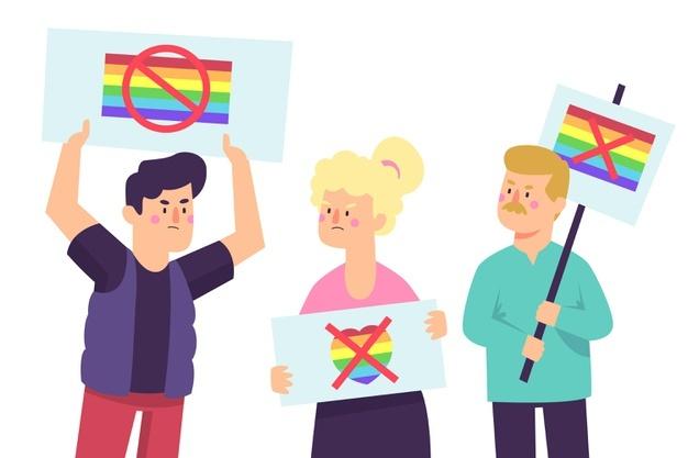 Люди с плакатами против ЛГБТ